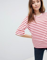Soaked In Luxury Stripe T Shirt With Fluted Sleeve Pink