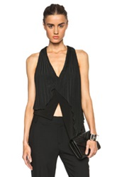 Sass And Bide Algoras Rhythm Soft Tailoring Pleated Viscose Blend Top In Black