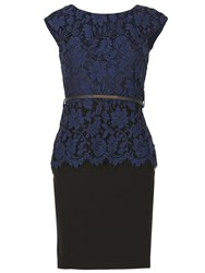 Izabel London Laced Peplum Pencil Dress Navy