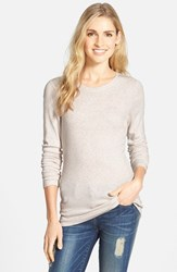 Women's Caslon Long Sleeve Scoop Neck Cotton Tee Heather Oatmeal