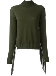 P.A.R.O.S.H. Roll Neck Fringed Sweater Green