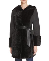 Maximilian Furs Leather Belt Mink Fur Trim Down Coat Black