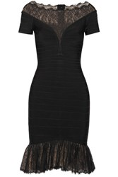 Herve Leger Lace Trimmed Bandage Dress Black