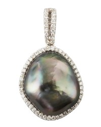 Gray South Sea Pearl And Diamond Halo Pendant 0.26 Tcw Eli Jewels Blue