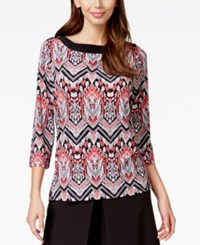 Alfred Dunner Printed Button Shoulder Top Multi