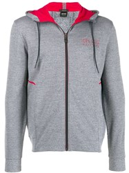 Hugo Boss Hooded Logo Sweatshirt Grey