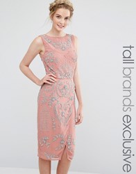 Maya Tall All Over Embellished Midi Dress With Wrap Detail Skirt Rose Pink