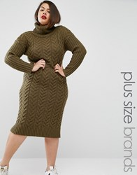 Alice And You Knitted Utility Roll Neck Midi Dress Khaki Green