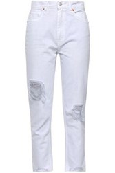 Iro Woman Cropped Distressed High Rise Straight Leg Jeans Off White Off White