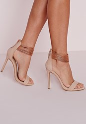 Missguided Metallic Ankle Strap Barely There Heels Rose Gold Red