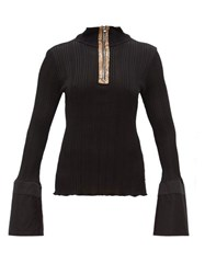 Ellery Arcade Fluted Cuff Zipped Top Black
