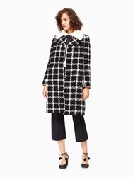 Kate Spade Faux Fur Collar Tweed Coat Black Cream