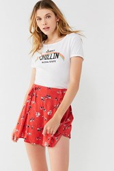 Urban Outfitters Uo Lulu Lace Up Flutter Short Red Multi