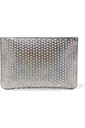 Christian Louboutin Loubiclutch Spiked Glittered Leather Pouch Silver
