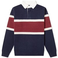 Beams Plus Knit Rugby Shirt Blue