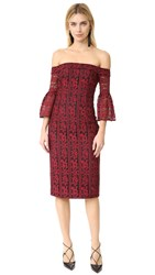 Cynthia Rowley Floral Stripe Lace Fitted Off Shoulder Dress Red Black