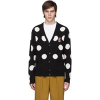 Maison Kitsune Black And White Acide Fox Classic All Over Dots Cardigan