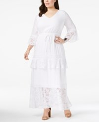 Ny Collection Plus Size Tiered Peasant Maxi Dress White Angelrose