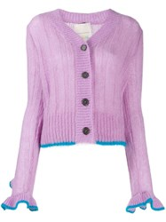 Marco De Vincenzo Ruffle Sleeve Button Cardigan Purple