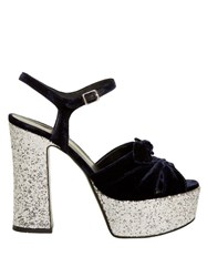 Saint Laurent Candy Bow Detail Velvet Platform Sandals Navy Silver