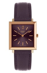 Henry London Heritage Leather Strap Watch 26Mm Purple Rose Gold