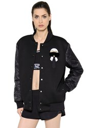 Fendi Karl Print And Fur Neoprene Bomber Jacket
