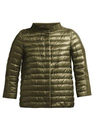 Herno Quilted Down Filled Boat Neck Jacket Green
