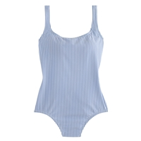 J.Crew Seersucker Scoopback One Piece Swimsuit Blue