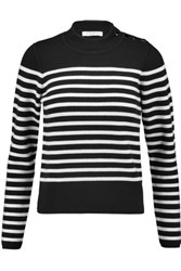 Sandro Saba Striped Knitted Sweater Black