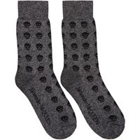 Alexander Mcqueen Grey And Black Glittered Short Skull Socks