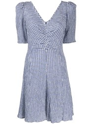 Staud Gingham Mini Dress Blue
