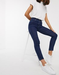 Only Paola High Waisted Ankle Grazer Jeans Blue