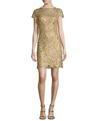 Tadashi Shoji Short Sleeve Filigree Lace Cocktail Dress