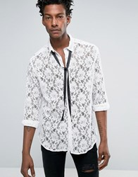 Asos Regular Fit Lace Shirt With Detachable Pussy Bow In White White