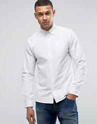 D Struct Long Sleeve Oxford Cotton Shirt White