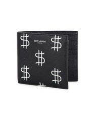 Saint Laurent Dollar Sign East West Bi Fold Wallet Black White