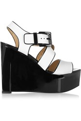 Michael Kors Vienna Leather Wedge Sandals White