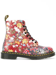Dr. Martens Floral Print Boots Red