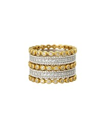 Freida Rothman Five Row Pave Cz Stones Stacking Ring Yellow White