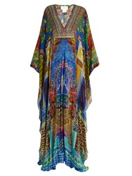 Camilla Bohemian Bounty Print Silk Maxi Dress Blue Multi