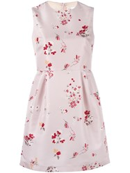 Red Valentino Floral Print Flared Dress Pink Purple