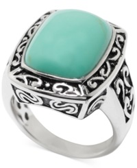 Macy's Manufactured Turquoise Rectangle Ring In Sterling Silver 5 Ct. T.W.