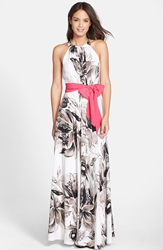 Eliza J Print Chiffon Maxi Dress Regular And Petite Black White