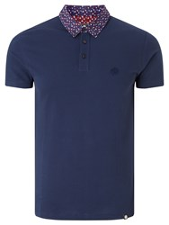 Pretty Green Rindle Floral Print Collar Polo Shirt Navy