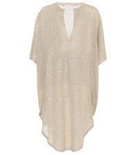 Brunello Cucinelli Sequinned Linen And Silk Dress Beige