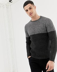 Only And Sons Colour Block Knitted Jumper Grey