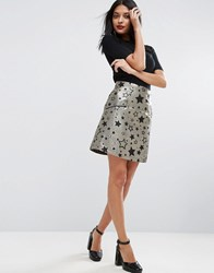 Asos Mini Skirt In Gold Star Jacquard With Zip Detail Gold Black