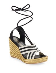 Marc Jacobs Lace Up Espadrille Wedge Sandals Black