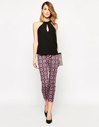 Closet Mosaic Print Trousers Bluered