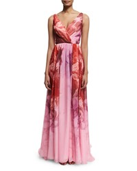 Monique Lhuillier Sleeveless Floral Print Ombre Gown Sorbet Pink